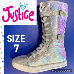 Justice Girls Sneakers Sz 7 Iridescent Extra High